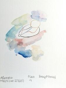 Akvarellen Plan 4 av Poeten Salvador
